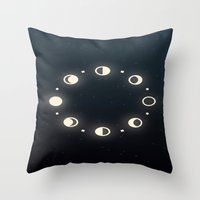 moon phases Throw Pillows featuring Moon Phases by Sweet Colors Gallery
