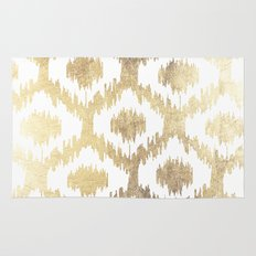Modern white hand drawn ikat pattern faux gold  Rug