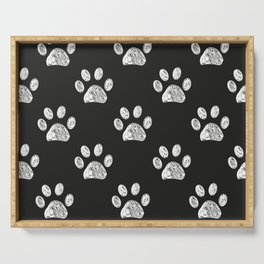 Doodle white paw print seamless fabric design repeated pattern Serving Tray