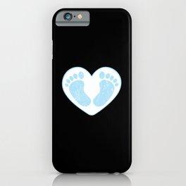 Cute male baby boy baby feet in heart shape blue iPhone Case