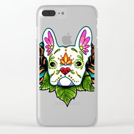 French Bulldog in White - Day of the Dead Sugar Skull Dog Clear iPhone Case