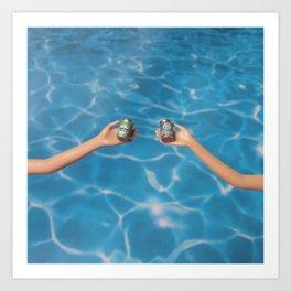 Beer at the pool Art Print