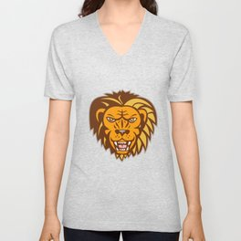 Angry Lion Big Cat Growling Head Retro Unisex V-Neck