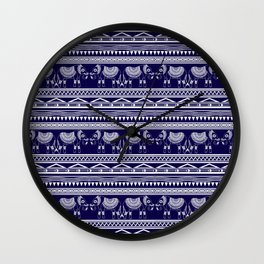 White and Navy Blue Elephant Pattern Wall Clock