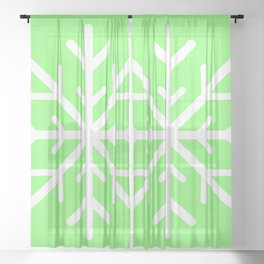 Snowflake (White & Light Green) Sheer Curtain