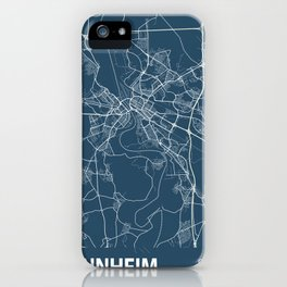 Mannheim Blueprint Street Map, Mannheim Colour Map Prints iPhone Case