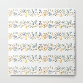 Yellow green blue hand painted modern floral stripes Metal Print