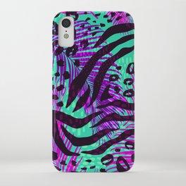 purple teal floral animal print iPhone Case