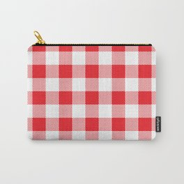 Red and white Christmas plaid geometric pattern Carry-All Pouch