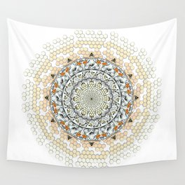 Overlapping Bee Mandala (Color) Wall Tapestry
