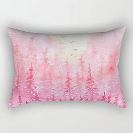 """Red Autumn Hills"" watercolor landscape illustration Rectangular Pillow"