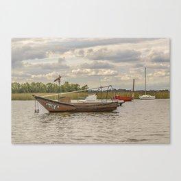 Fishing and Sailboats at Santa Lucia River in Montevideo, Uruguay Canvas Print