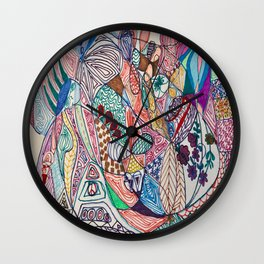 A Gathering of Designs, Shapes, & Colours Wall Clock