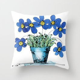 Seven Flowers (Blue): cheery original art in a loose style, simple flowers in a turquoise pot Throw Pillow