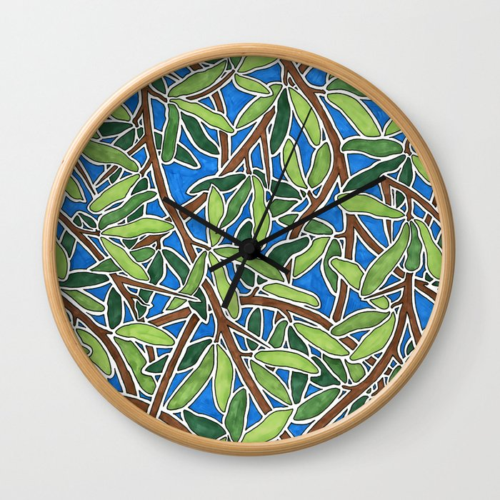 Leaves and Branches in Weaving Tangle Wall Clock