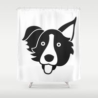 border collie Shower Curtains featuring Border Collie by anabelledubois