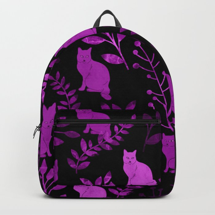 Watercolor Floral and Cat II Backpack