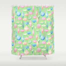 Retro Christmas Ornaments Green Background Shower Curtain