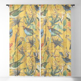 Vintage & Shabby Chic - Yellow Tropical Bird Garden Sheer Curtain