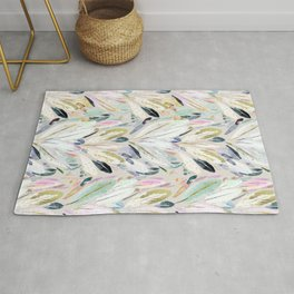 Pastel Shimmer Feather Leaves on Gray Rug