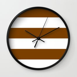 Wide Horizontal Stripes - White and Chocolate Brown Wall Clock