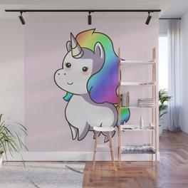Super Cute Rainbow Unicorn Kawaii Wall Mural