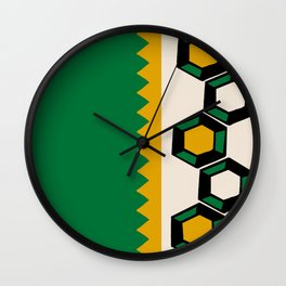 Gem Stripe - Green, Yellow, Black, Beige Wall Clock