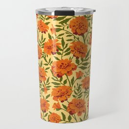 Marigold Flowers Pattern Travel Mug