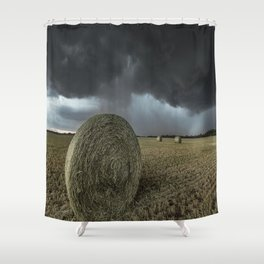 Fade Away - Round Hay Bales in Storm in Oklahoma Shower Curtain