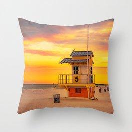 Clearwater Beach Ocean Sunrise Lifeguard Hut Yellow Sky Summer Print Throw Pillow