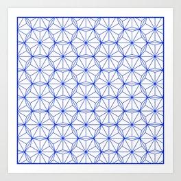 Blue Hexagon Pattern Art Print