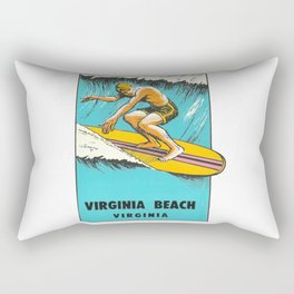 Virginia Beach Retro Vintage Surfer Rectangular Pillow