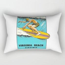 Virginia Beach Retro Vintage Surfer Rectangular Pillow
