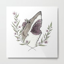 Floral Shark Metal Print