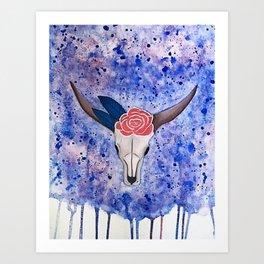 Boho Bull Skull Art Print