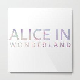 Alice in Wonderland Flowers Metal Print