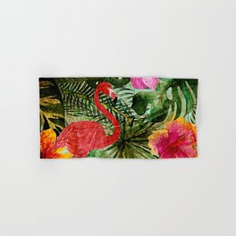 Tropical Vintage Exotic Jungle- Floral and Flamingo watercolor pattern Hand & Bath Towel