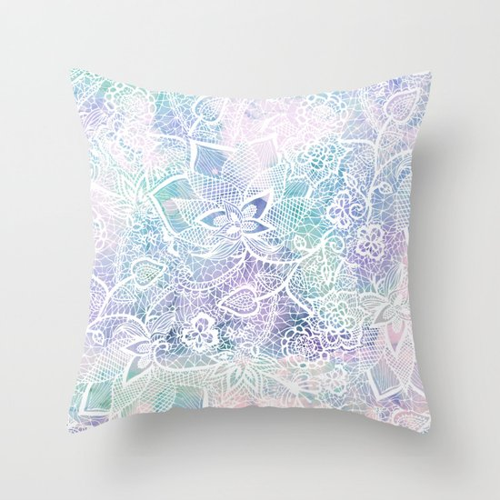 Modern purple lavender turquoise watercolor floral lace hand drawn illustration Throw Pillow by ...