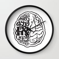 brain Wall Clocks featuring Brain by RomaM