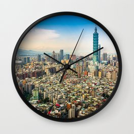 Aerial view and cityscape of Taipei, Taiwan Wall Clock