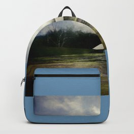 barn in mist blue background Backpack
