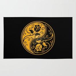 Yellow and Black Yin Yang Roses Rug