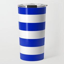 Cobalt Blue and White Wide Cabana Tent Stripe Travel Mug