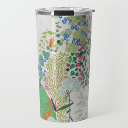 Painterly Floral Jungle on Pink and White Travel Mug
