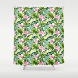 Pink green watercolor flamingo tropical monster leaves Shower Curtain
