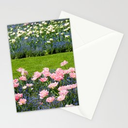 Pink Foxtrot tulips with blue forget-me-nots mix Stationery Cards
