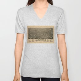Vintage Pictorial Map of Greensboro NC (1891) Unisex V-Neck