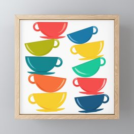 A Teetering Tower Of Colorful Tea Cups Framed Mini Art Print