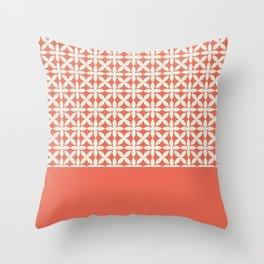 Pantone Cannoli Cream Square Petal Pattern on Pantone Living Coral Throw Pillow
