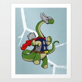"Bronto""THOR""us - God of Thunder Lizards Art Print"